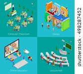isometric educational concept.... | Shutterstock .eps vector #498287452