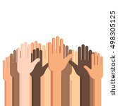 many human hands up with... | Shutterstock .eps vector #498305125