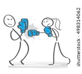 power struggle   woman and man... | Shutterstock .eps vector #498314062