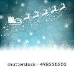 santa claus rides in a sleigh...   Shutterstock . vector #498330202