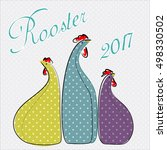 bright stylized roosters and... | Shutterstock .eps vector #498330502