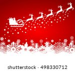 santa claus in sled rides in... | Shutterstock . vector #498330712