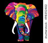 colorful elephant. vector... | Shutterstock .eps vector #498352402