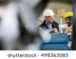 mature male supervisor talking... | Shutterstock . vector #498363085