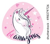 pink cartoon fairytale unicorn   Shutterstock .eps vector #498379726