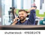 smiling mid adult businessman... | Shutterstock . vector #498381478