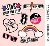 fashion patch badges with... | Shutterstock .eps vector #498395722