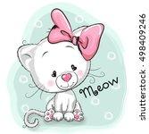 cute cartoon white kitten on a... | Shutterstock . vector #498409246