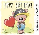 cute cartoon teddy bear with a... | Shutterstock . vector #498409282