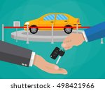 hand gives car keys to another... | Shutterstock . vector #498421966