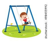 cute boy playing on swing | Shutterstock .eps vector #498455992