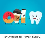 angry donut  coffee paper cup... | Shutterstock .eps vector #498456592