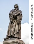 Small photo of Bronce Statue of Martin Luther in Dresden, built by Adolf von Donndorf in 1885.