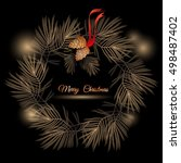 vector christmas  wreath with ... | Shutterstock .eps vector #498487402