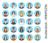 people faces avatars vector... | Shutterstock .eps vector #498492256