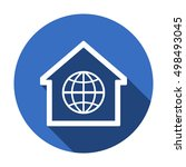 globe  icon. flat design. | Shutterstock .eps vector #498493045