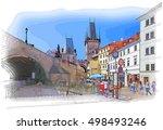charles bridge   prague  czech... | Shutterstock .eps vector #498493246