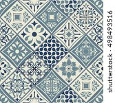 seamless patchwork tile with... | Shutterstock .eps vector #498493516
