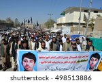 Small photo of CHAMAN, PAKISTAN - OCT 14: Civil society members and people from every walk of life are holding a protest rally against abduction of Asfand Yar son on October 14, 2016 in Chaman.