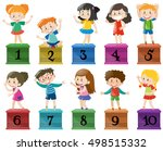 children and number one to ten... | Shutterstock .eps vector #498515332