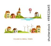 village. small town. rural and... | Shutterstock .eps vector #498523645