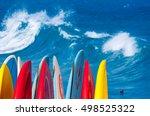 dramatic powerful waves break... | Shutterstock . vector #498525322