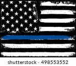 black flag with police blue... | Shutterstock .eps vector #498553552