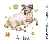zodiac sign   aries. watercolor ... | Shutterstock . vector #498566128