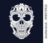 ornamental skull head tribal... | Shutterstock .eps vector #498570922