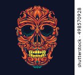 colorful ornamental skull head... | Shutterstock .eps vector #498570928