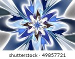 Blue and white creative floral fractal background - stock photo