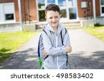 a student boy outside at school ... | Shutterstock . vector #498583402