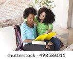 african american friends... | Shutterstock . vector #498586015