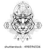 animal head triangular icon  ... | Shutterstock .eps vector #498596536
