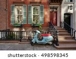 a brownstone building with a... | Shutterstock . vector #498598345