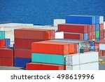 port cargo container in port of ... | Shutterstock . vector #498619996