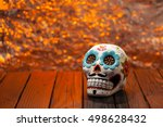 Stock photo halloween dia de los muertos celebration background with sugar skull wide shot selective focus 498628432