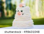 beautiful big wedding cake with ... | Shutterstock . vector #498631048