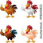 cartoon funny rooster giving... | Shutterstock . vector #498640822