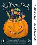 happy halloween party banner... | Shutterstock .eps vector #498659842