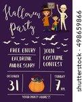halloween night party poster... | Shutterstock .eps vector #498659866