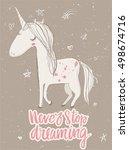 fairytale unicorn  | Shutterstock .eps vector #498674716