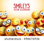 smiley faces vector background... | Shutterstock .eps vector #498676936
