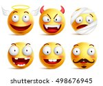 Set Of Vector Smileys With...