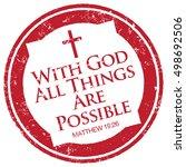 matthew 19 26  bible quote stamp | Shutterstock .eps vector #498692506