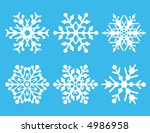 a collection of six snowflakes. ... | Shutterstock . vector #4986958