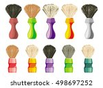 set of shaving brushes of... | Shutterstock .eps vector #498697252