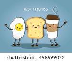 best friends. breakfast. good... | Shutterstock .eps vector #498699022