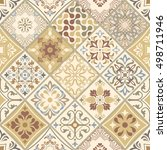 seamless patchwork tile with... | Shutterstock .eps vector #498711946