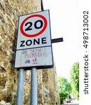 20 zone warning sign for... | Shutterstock . vector #498713002